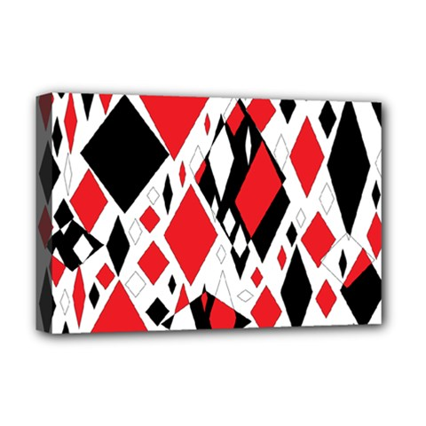 Distorted Diamonds In Black & Red Deluxe Canvas 18  x 12  (Framed)