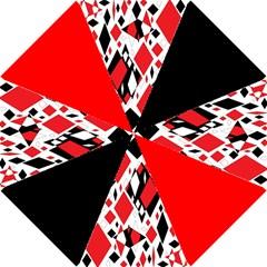 Distorted Diamonds in Black & Red Hook Handle Umbrella (Small)