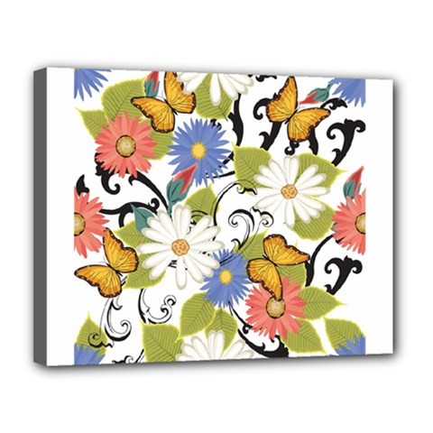Floral Fantasy Canvas 14  x 11  (Framed)