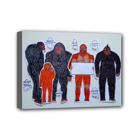 1 Neanderthal & 4 Big Friends, Mini Canvas 7  X 5  (framed)