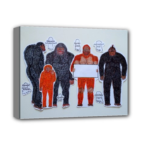 1 Neanderthal & 4 Big Friends, Deluxe Canvas 14  X 11  (framed)
