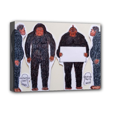 4 Yeti,1 Text Board  Deluxe Canvas 16  x 12  (Framed)