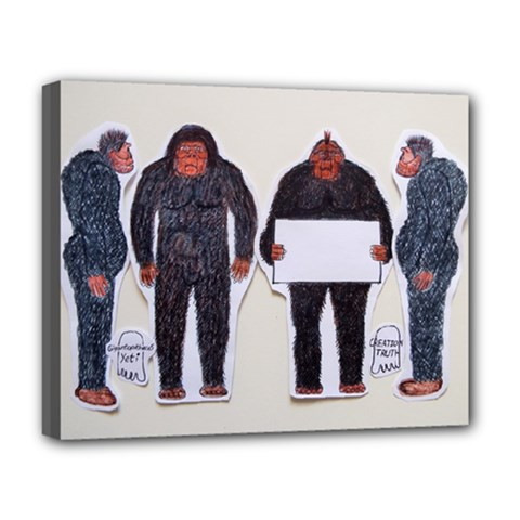 4 Yeti,1 Text Board  Deluxe Canvas 20  x 16  (Framed)