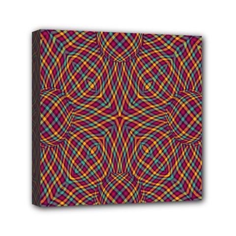 Trippy Tartan Mini Canvas 6  x 6  (Framed)