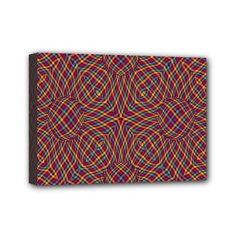 Trippy Tartan Mini Canvas 7  X 5  (framed)