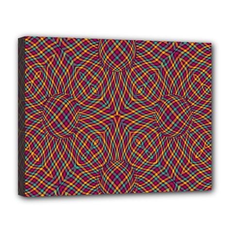Trippy Tartan Canvas 14  X 11  (framed)