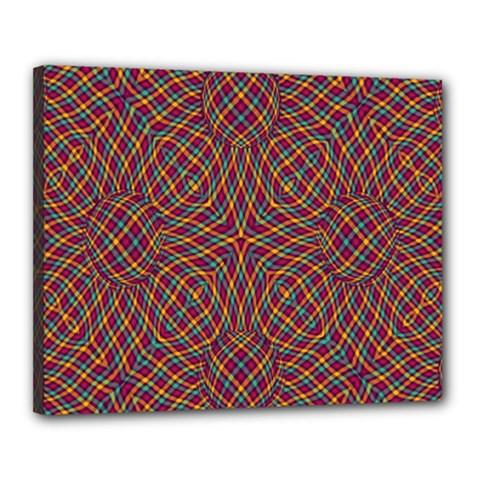 Trippy Tartan Canvas 20  x 16  (Framed)