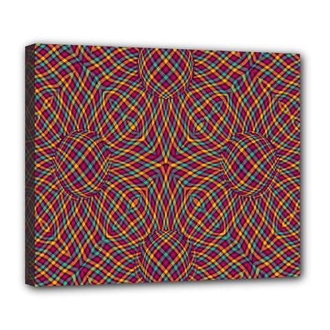 Trippy Tartan Deluxe Canvas 24  x 20  (Framed)