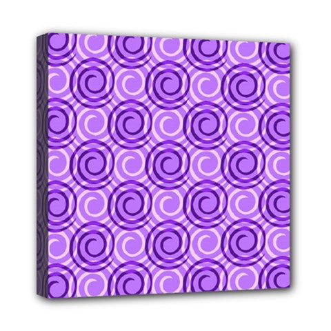 Purple And White Swirls Background Mini Canvas 8  X 8  (framed)