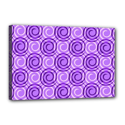 Purple And White Swirls Background Canvas 18  x 12  (Framed)