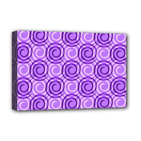 Purple And White Swirls Background Deluxe Canvas 18  x 12  (Framed)