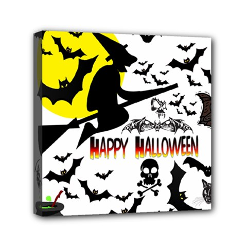 Happy Halloween Collage Mini Canvas 6  X 6  (framed)