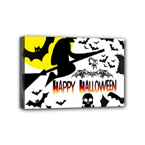 Happy Halloween Collage Mini Canvas 6  X 4  (framed)