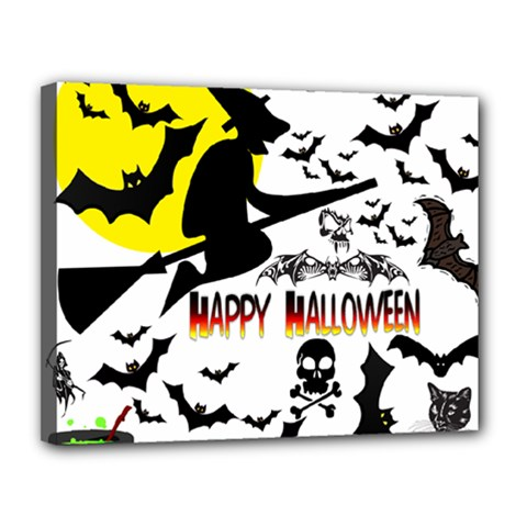 Happy Halloween Collage Canvas 14  x 11  (Framed)
