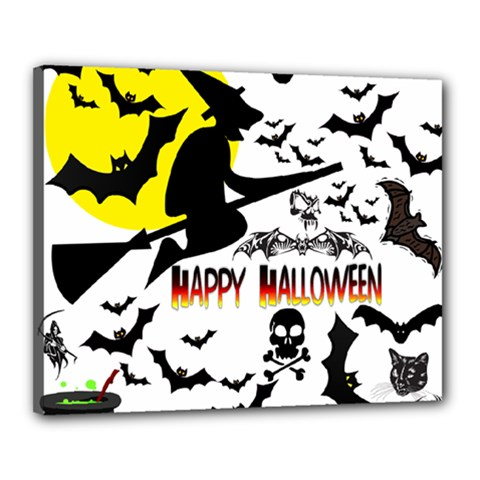 Happy Halloween Collage Canvas 20  x 16  (Framed)