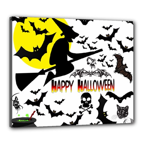 Happy Halloween Collage Canvas 24  X 20  (framed)