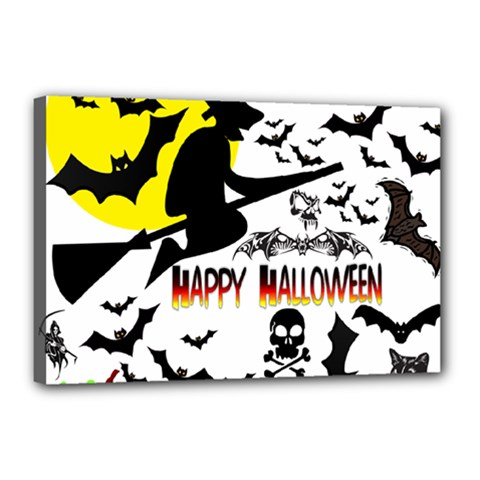 Happy Halloween Collage Canvas 18  x 12  (Framed)