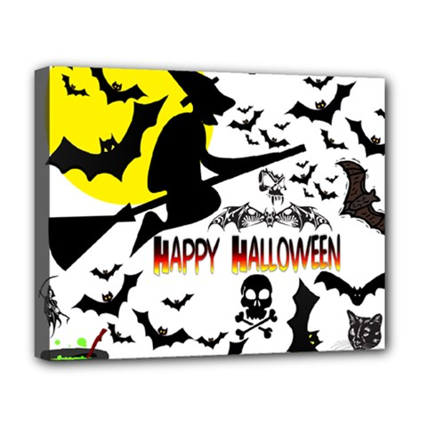Happy Halloween Collage Deluxe Canvas 20  x 16  (Framed)