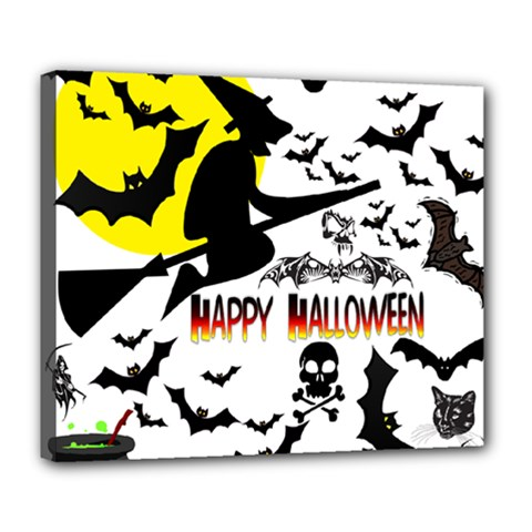 Happy Halloween Collage Deluxe Canvas 24  x 20  (Framed)
