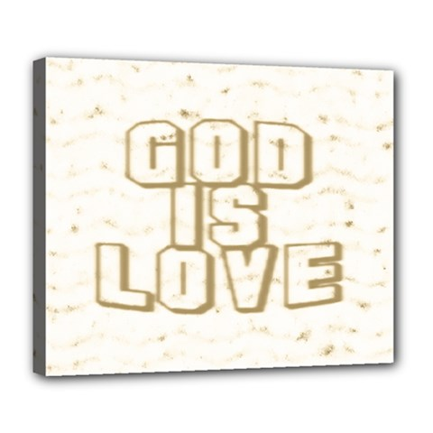 God Is Love Gold1 Deluxe Canvas 24  x 20  (Framed)