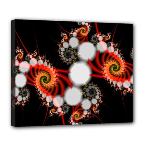 Mysterious Dance In Orange, Gold, White In Joy Deluxe Canvas 24  x 20  (Framed)