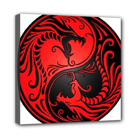 Yin Yang Dragons Red And Black Mini Canvas 8  X 8  (framed)
