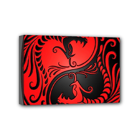 Yin Yang Dragons Red and Black Mini Canvas 6  x 4  (Framed)