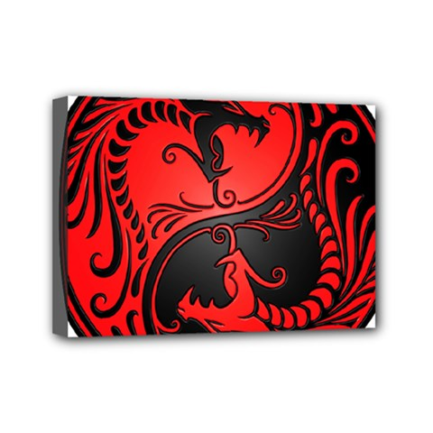 Yin Yang Dragons Red and Black Mini Canvas 7  x 5  (Framed)