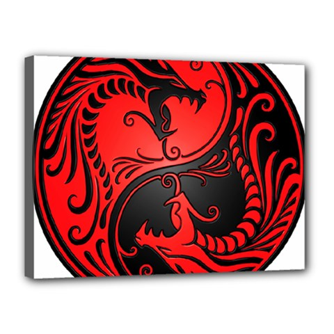 Yin Yang Dragons Red and Black Canvas 16  x 12  (Framed)