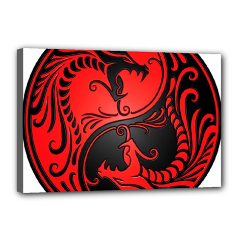 Yin Yang Dragons Red and Black Canvas 18  x 12  (Framed)
