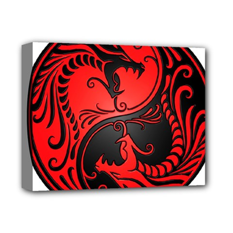 Yin Yang Dragons Red And Black Deluxe Canvas 14  X 11  (framed)
