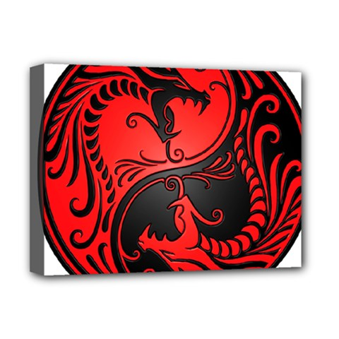 Yin Yang Dragons Red And Black Deluxe Canvas 16  X 12  (framed)