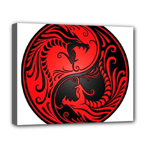 Yin Yang Dragons Red And Black Deluxe Canvas 20  X 16  (framed)