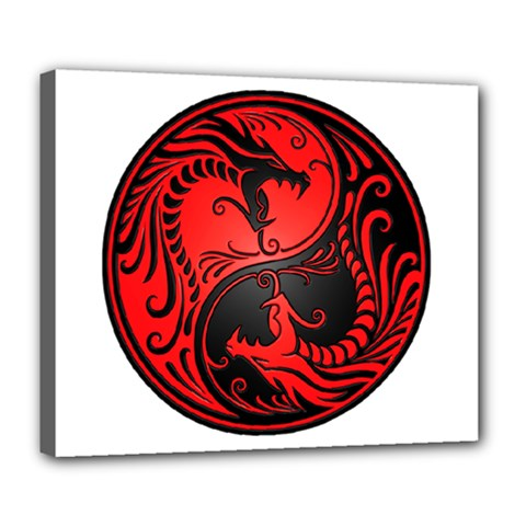Yin Yang Dragons Red and Black Deluxe Canvas 24  x 20  (Framed)