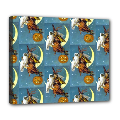 Vintage Halloween Witch Deluxe Canvas 24  x 20  (Framed)