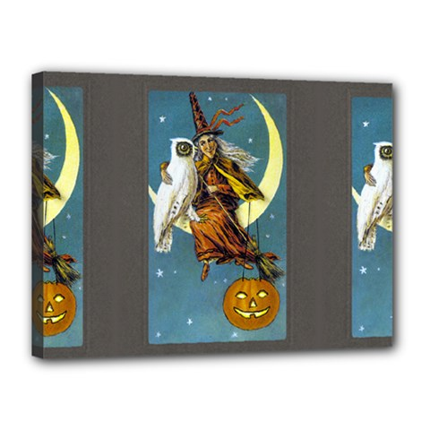 Vintage Halloween Witch Canvas 16  x 12  (Framed)