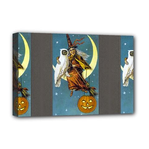Vintage Halloween Witch Deluxe Canvas 18  x 12  (Framed)