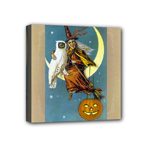 Vintage Halloween Witch Mini Canvas 4  x 4  (Framed)