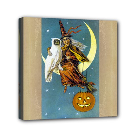 Vintage Halloween Witch Mini Canvas 6  x 6  (Framed)