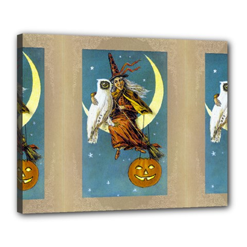 Vintage Halloween Witch Canvas 20  x 16  (Framed)