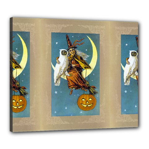 Vintage Halloween Witch Canvas 24  x 20  (Framed)