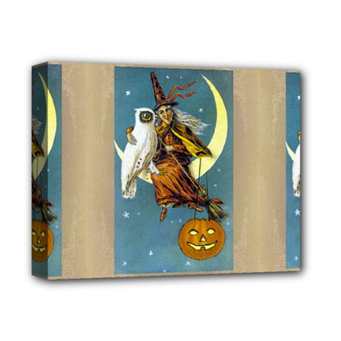 Vintage Halloween Witch Deluxe Canvas 14  x 11  (Framed)