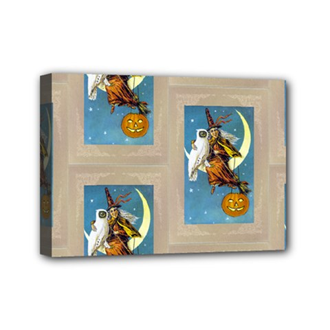 Vintage Halloween Witch Mini Canvas 7  x 5  (Framed)