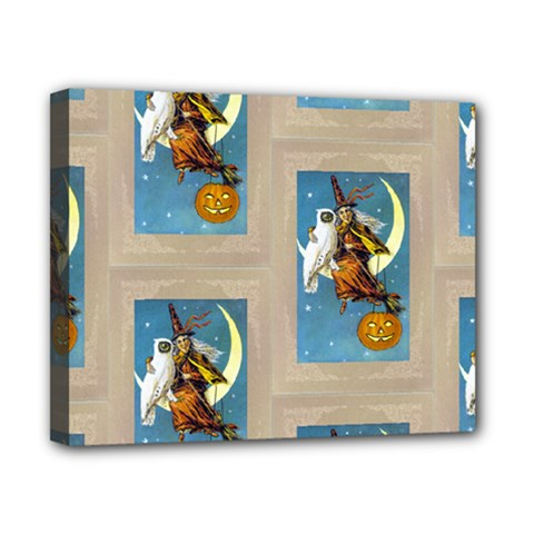 Vintage Halloween Witch Canvas 10  x 8  (Framed)