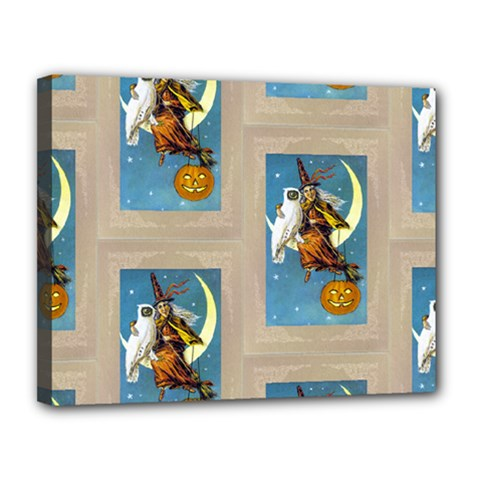 Vintage Halloween Witch Canvas 14  x 11  (Framed)