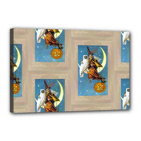 Vintage Halloween Witch Canvas 18  x 12  (Framed)