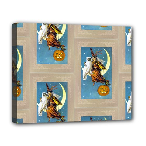 Vintage Halloween Witch Deluxe Canvas 20  x 16  (Framed)