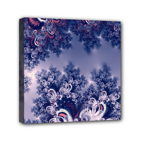 Pink And Blue Morning Frost Fractal Mini Canvas 6  X 6  (framed)