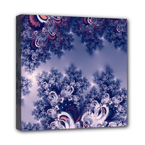 Pink And Blue Morning Frost Fractal Mini Canvas 8  X 8  (framed)
