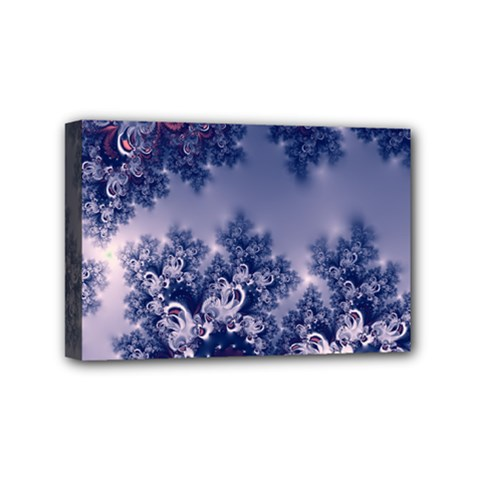 Pink And Blue Morning Frost Fractal Mini Canvas 6  X 4  (framed)